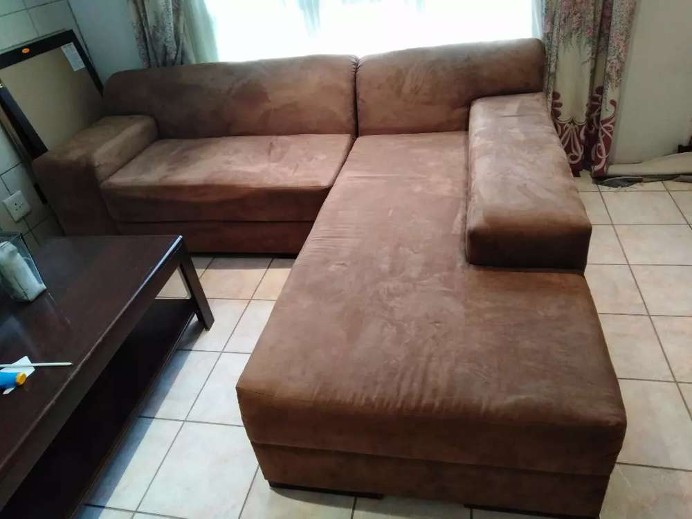 Brown Suede L Shaped Couch Furniture