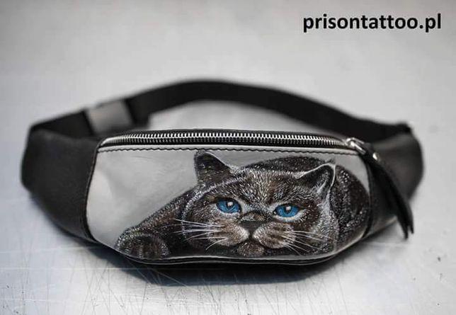 Saszetka Nerka Skórzana Prison Tattoo Z Tatuażem Nowa