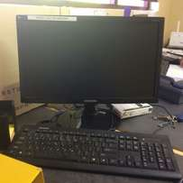 Desktop PC with keyboard and screen
