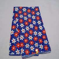 Royal Blue White And Red Floral Prints - 6 Yards
