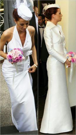 2eb01cc72f Suknia bolerko sukienka biała biel długa prosta ślubna ślub cywilny 38  Wrocław - image 1