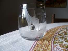 'Rowland Ward' etched crystal glasses