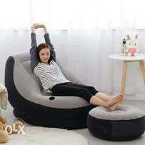 Inflatable seats with a puff