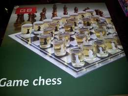 Brand New Glass Game Chess Board