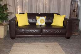 Coricraft Chobe Genuine Leather Couch / Oxblood 3 Seater Leather Sofa