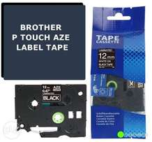 Black Label Tape Compatible for Brother Aze PT-D200 H110 P-Touch 12mm