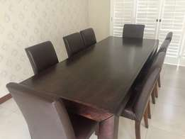 Coricraft Arc Dining Table + 8 100% Leather Dining Chairs