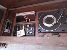 Old turntable and cassette player