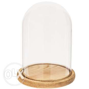 Glass dome with wood base 35 pcs
