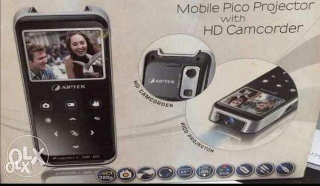 Aiptek projector, hd camcorder with remote control