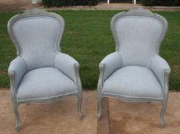 Pair of Revamped Queen Anne Anne Arm Chairs