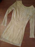 0ea9ef3e8d Złota mini sukienka na wesele na studniówkę NLY trend r.34 XS
