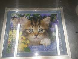 Cat puzzle completed and framed