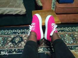 Chunky female sneakers in hot pink