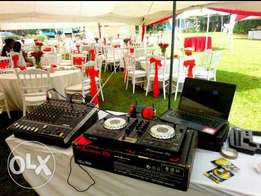 Tents for hire and smart decorations with complete DJ pack.
