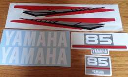 Yamaha two stroke 85 HP outboard motor cowl decals stickers graphics