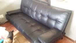 New Black leather sleeper couch