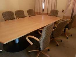 Used 10 seater Boardroom table & 9 chairs for sale