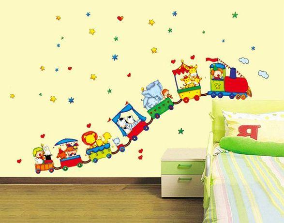 Naklejki ścienne Na ścianę Dla Dzieci Pociąg Zwierzęta Ws 0107 łódź
