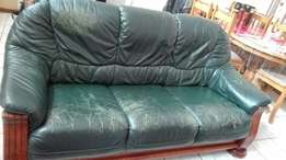Leather and oak 6 seater lounge suite