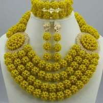 Yellow handmade bead
