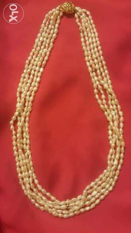 عقد لؤلؤ حر 5 افرع Vintage Rice Pearls Necklace