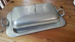 Silver serving platter with lid