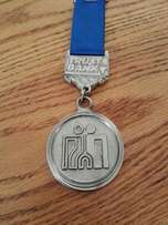 Medal - Old silver Trust Bank medal with blue ribbon