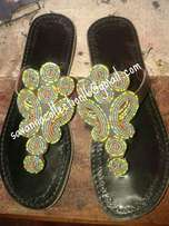 Africa beaded leather sandals