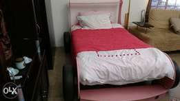 Pink Ferrari Bed with 3/4 mattress