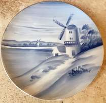 Beautiful Hand painted Plate of Windmill scene