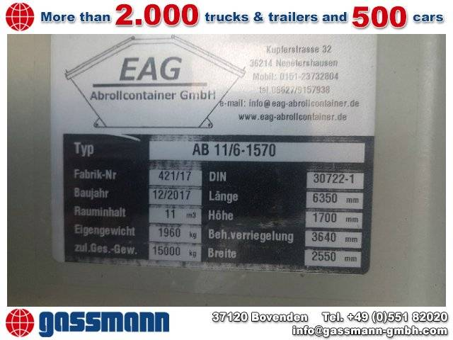 EAG Abrollcontainer, 11 cbm, Klappe 6 to - 2017