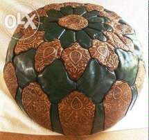Handmade Moroccan Imported Leather round green and brown pouffe