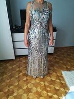 a0d0746eba36 Wieczorowa Suknia cekinowa z cekinami srebrna długa hit rozmiar 38 M