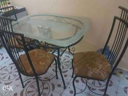 Lovely glass top dining table (with 3 chairs), centre table & TV stand