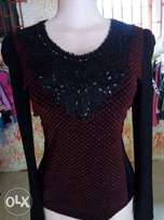 Red and Black Glittering Top