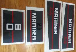 1991 Mariner 60 HP outboard motor cowl graphics decal set