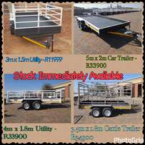 Super Savings On All Trailers. STOCK IMMEDIATELY AVAILABLE!!