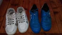Boys soccer boots and cricket shoes combo