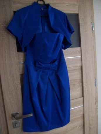 SUKIENKA kreacja suknia przed kolano z bolerkiem rozmiar 38