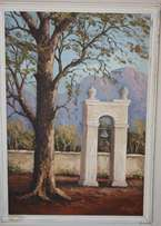 Original Painting - Slave Clock Franschoek by N Coetzee (1982)