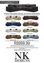 Custom corner couch at factory on special for R8999.99