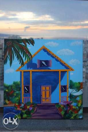 vacation blue house painting