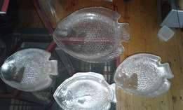 Glass dish and plates