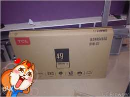 "fresh in box TCL 49"" smart, satellite and digital"