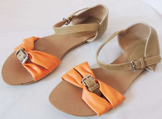 Brown - orange open flat shoes (VJ Collections) Ruaka - image 2