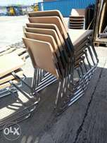 Plastic chairs with chrome metal stands