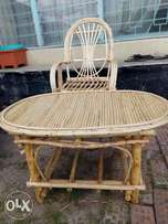 Wooden outdoor chair and table