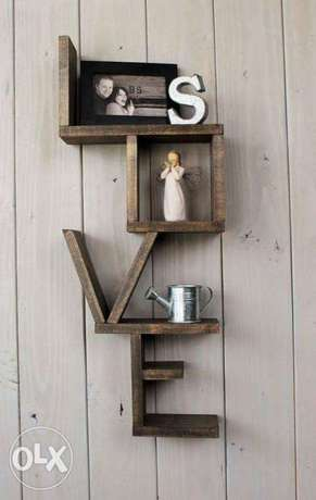Creative wood word shape love stand ستاند كلمة خشب