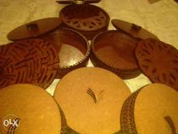 Wooden dish, plate and cup coasters.